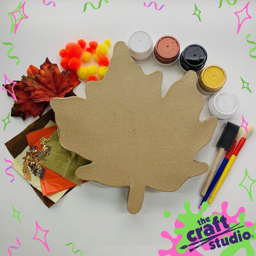 Pink Chicken Hello Fall! Wooden Leaf - Craft Studio NYC