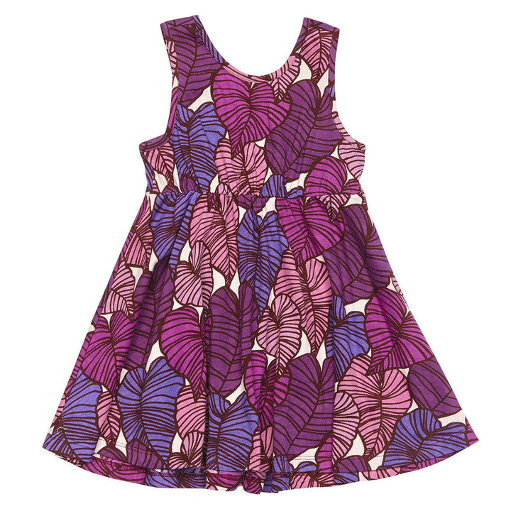 Pink Chicken Addison Dress 2y purple tropical leaves - 17sspc442c