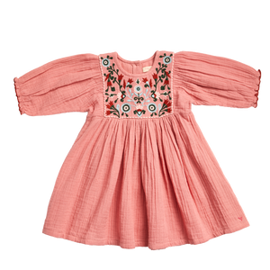 Pink Chicken Arianna Dress 2Y mauveglow w/multi embroidery