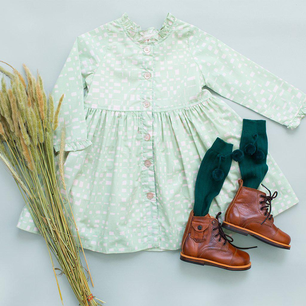 View larger version of Pink Chicken Autumn Dress 2y frosty green abstract plaid - 19ffpc333b