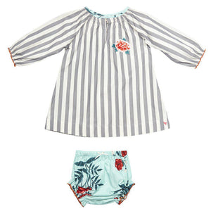 Pink Chicken Ava Dress Set 3/6m smoked pearl stripe - 17fpcn852a