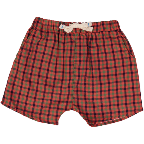 Pink Chicken Liam Long Short 3/6m red multi plaid - 18sbrn222a