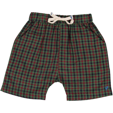 Pink Chicken Liam Long Short 3/6m green multi plaid - 18sbrn222b