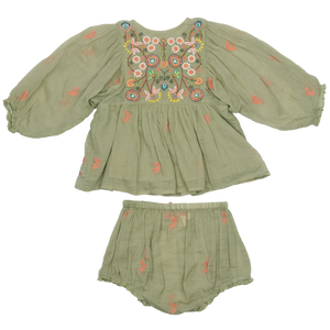 Pink Chicken Ava Bella 2-Piece Set 3/6m green tea w/ multi embroidery