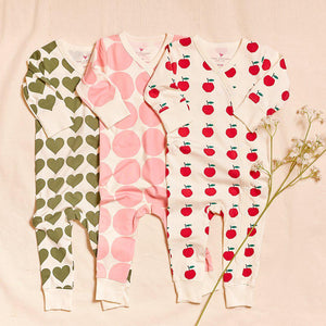 Pink Chicken Organic Romper 0/3M antique white apples
