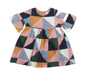 Pink Chicken Baby Ophelia Dress 3/6m multi triangle geo - 19fpcb542b