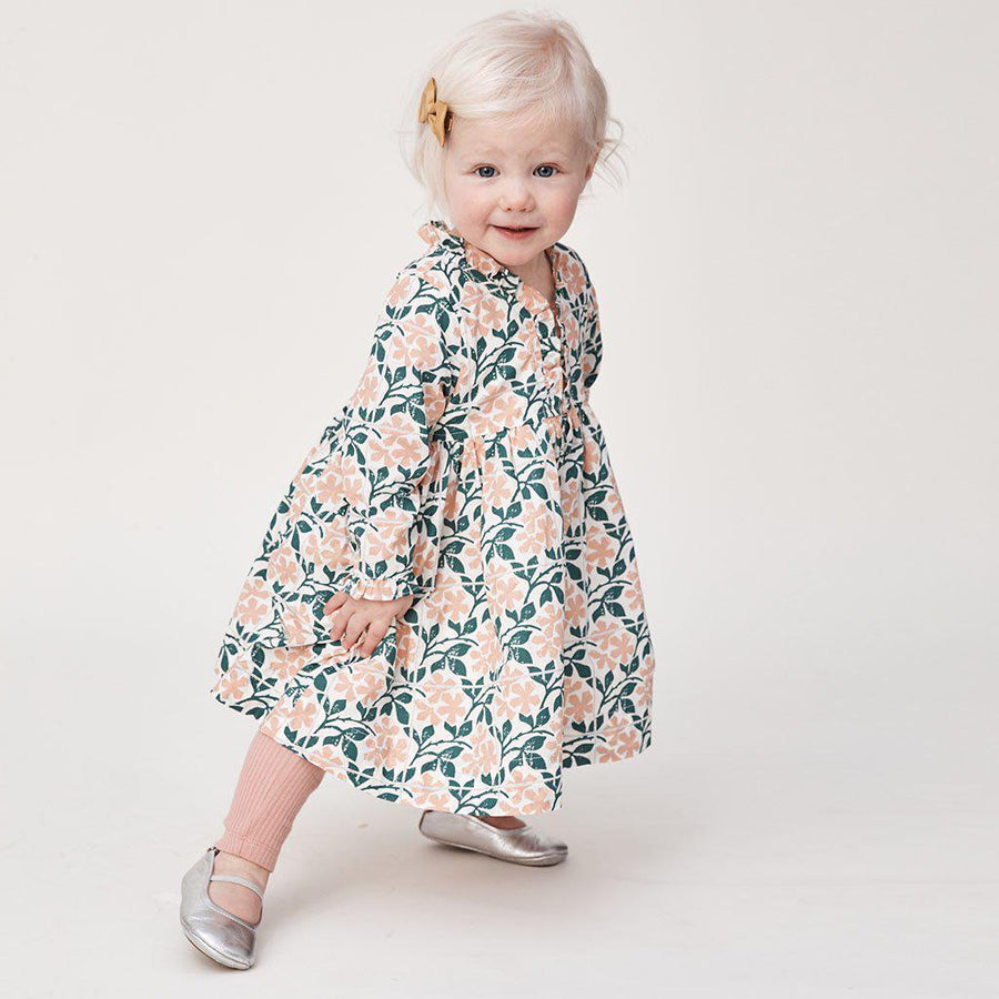 Pink Chicken Baby Vera Dress 3/6m antique white floral tile - 19fpcb534a
