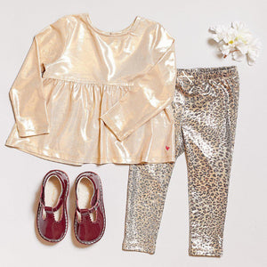 Pink Chicken Lame Legging 2Y leopard metallic