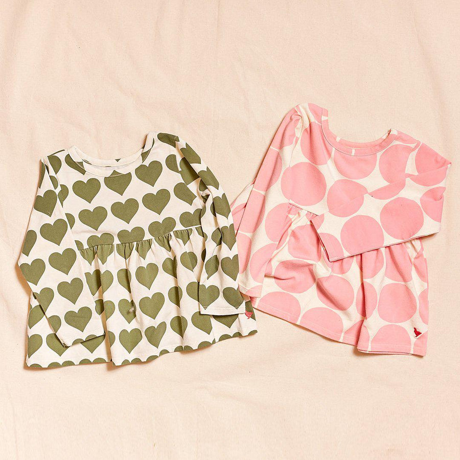 Pink Chicken Organic Bette Top 2Y capulet olive hearts