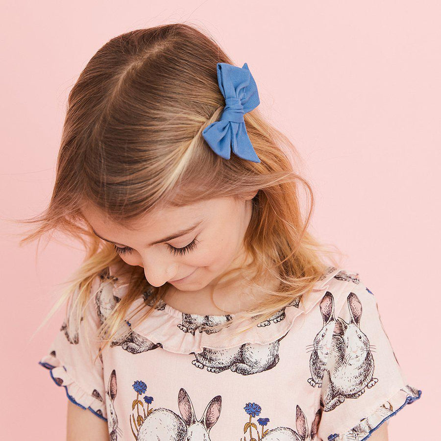 Pink Chicken Easter Bow/Clip Set - Blue