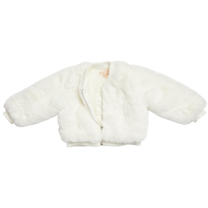 Pink Chicken Bomber Jacket 2Y winter white fur