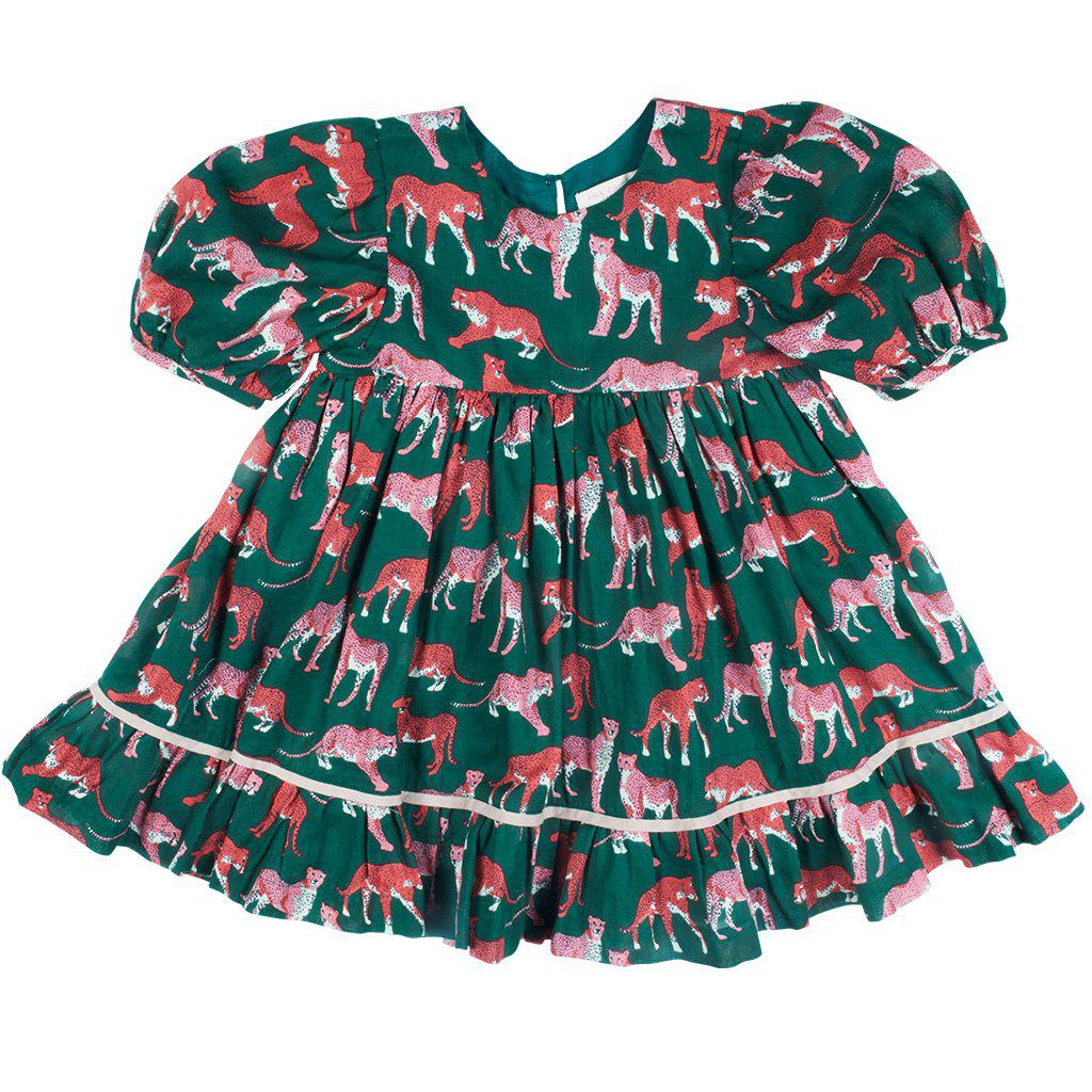 View larger version of Pink Chicken Brea Dress 2y evergreen cheetah - 19ffpc351a