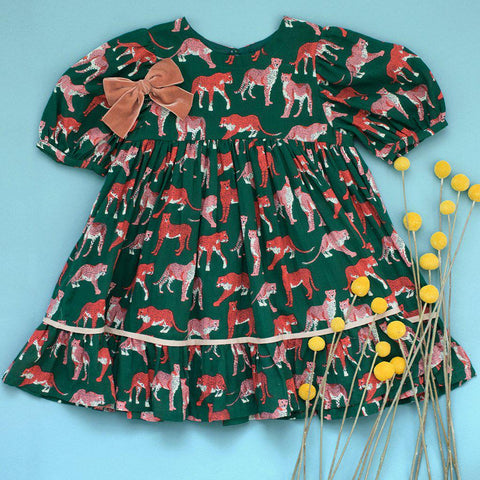 Pink Chicken Brea Dress 2y 19ffpc351a - evergreen cheetah