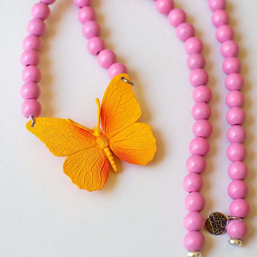 Pink Chicken Orange Butterfly on Pink Beads Necklace