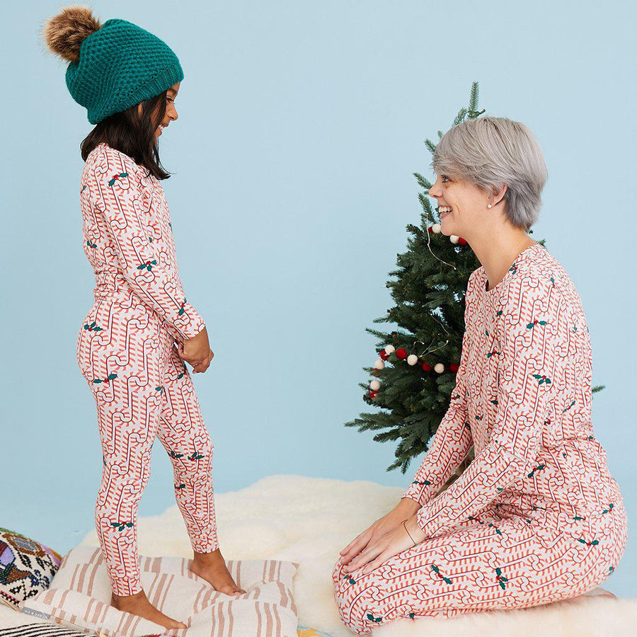 Pink Chicken Kids Holiday PJ Set 2y light gray candy canes - 19hpc361c