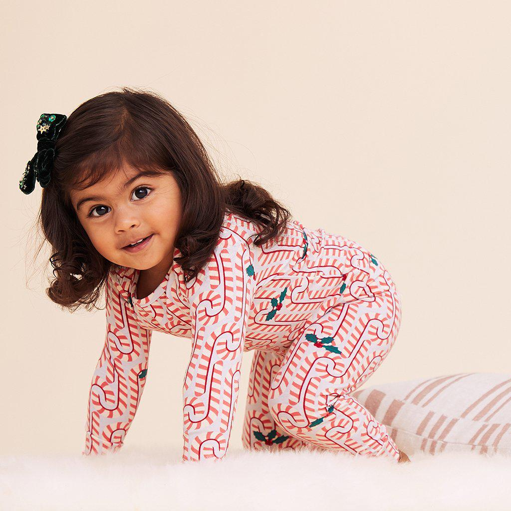 View larger version of Pink Chicken Baby Holiday PJ Set 3/6m light gray candy canes - 19hpcb509c