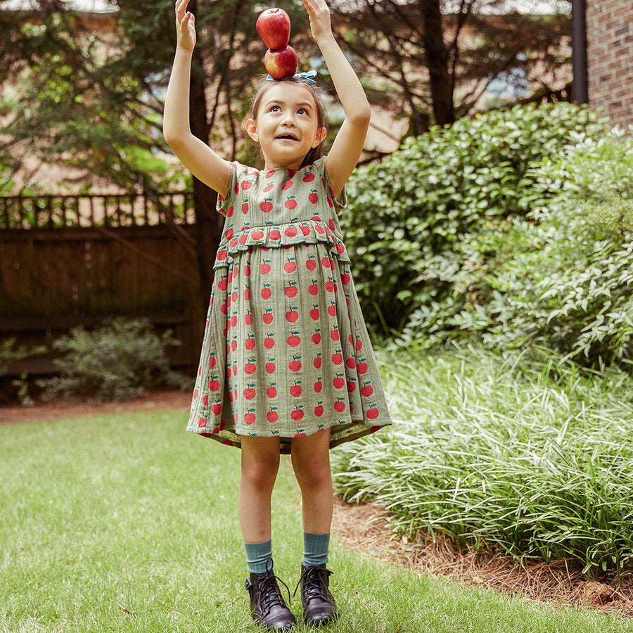 Pink Chicken Caroline Dress 2Y olive green apple