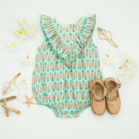 Marly Bubble for baby in mint chip print paired with brown sandals for a hot summer day.