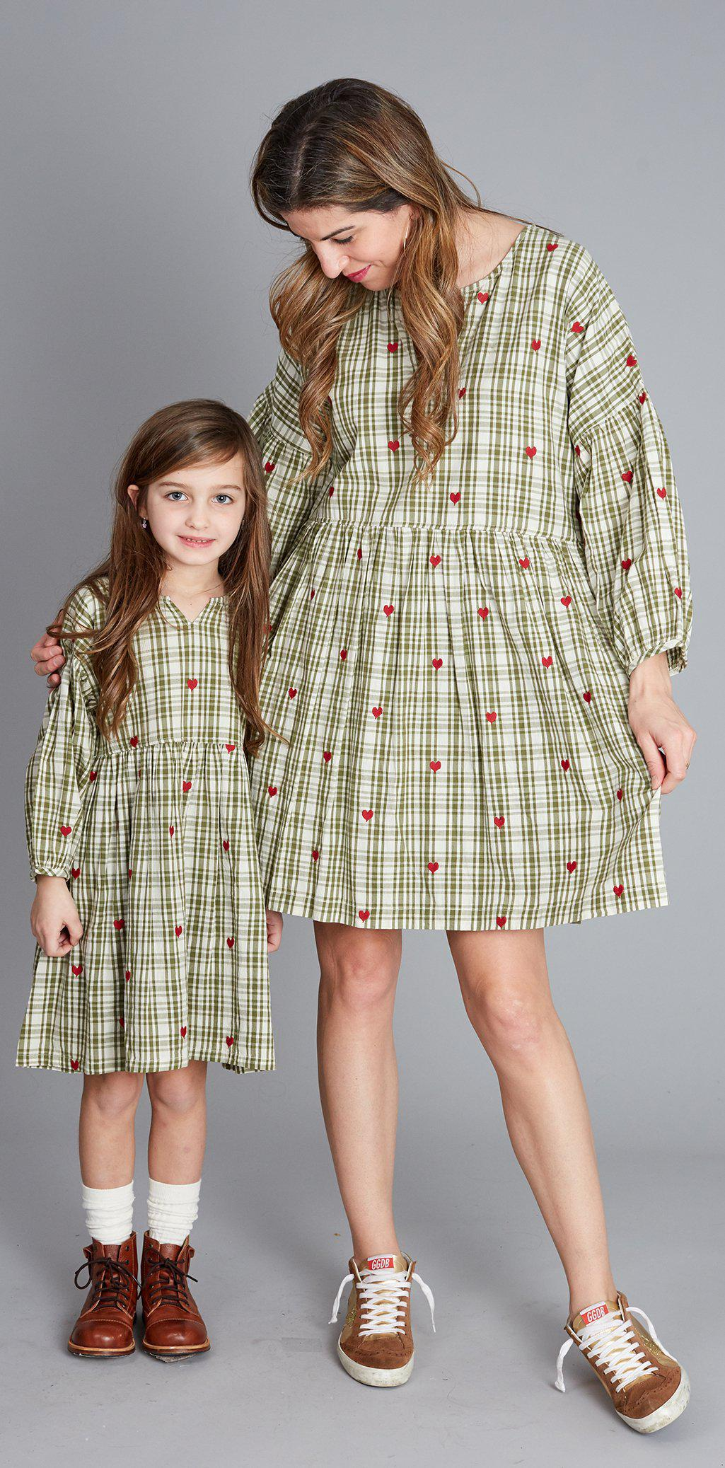 View larger version of Pink Chicken Celeste Dress XS army green plaid w/heart emb - 19fpcw193a