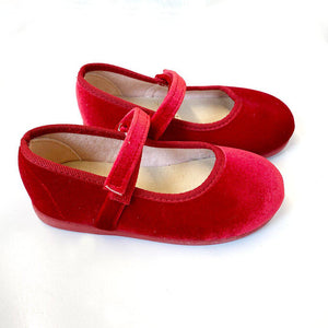 Pink Chicken Classic Velvet Mary Jane - Red 23