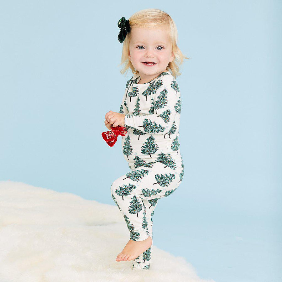 Pink Chicken Baby Holiday PJ Set 3/6m antique white christmas tree - 19hpcb509b