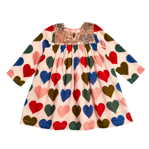 Pink Chicken Courtney Dress 2Y strawberry cream multi hearts