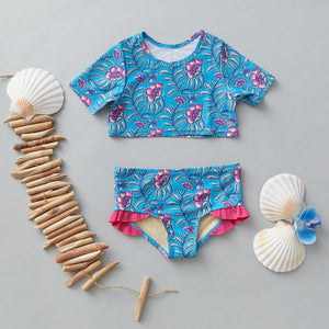 Pink Chicken Cropped Rash Guard Set 2Y hawaiian ocean vine floral