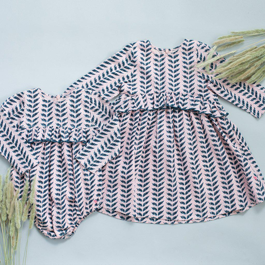 View larger version of Pink Chicken Caroline Dress 2y 19ffpc222a - crystal rose leaves