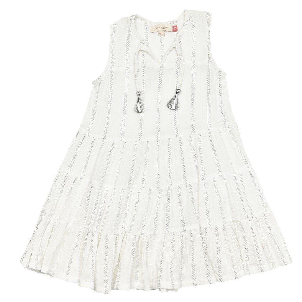 Pink Chicken Devon Dress 2y white w/silver - 17sspc169b