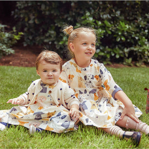 Pink Chicken Olive Dress Set 3/6M multi watercolor dogs
