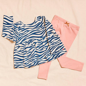 Pink Chicken Organic Bette Top 2Y dress blues zebra