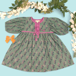 Pink Chicken Jade Dress 2y feldspar green floral - 20espc173a