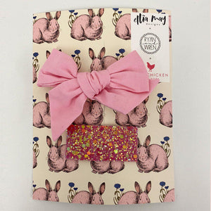 Pink Chicken Easter Bow/Clip Set - Pink