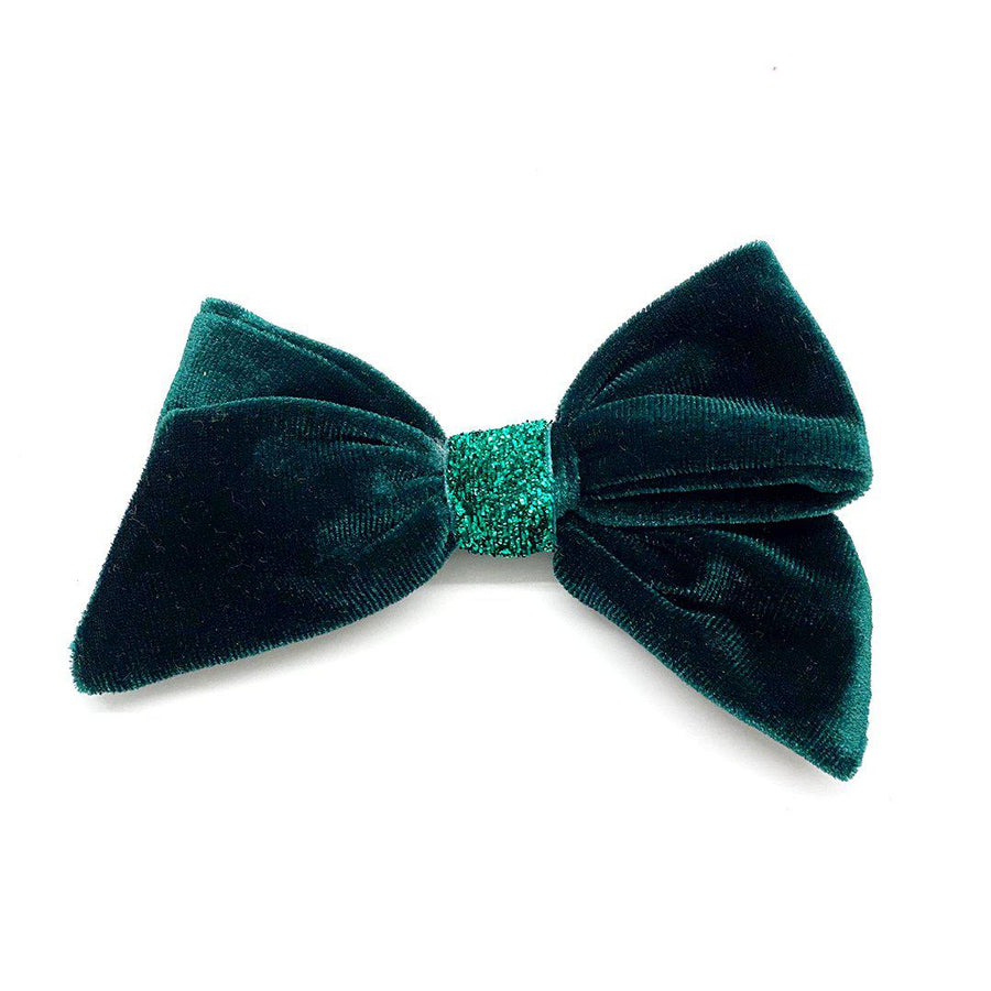 Pink Chicken Velour/Glitter Bow - Evergreen
