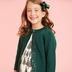 Pink Chicken Sequins Sweater 2y evergreen - 19hpc635b