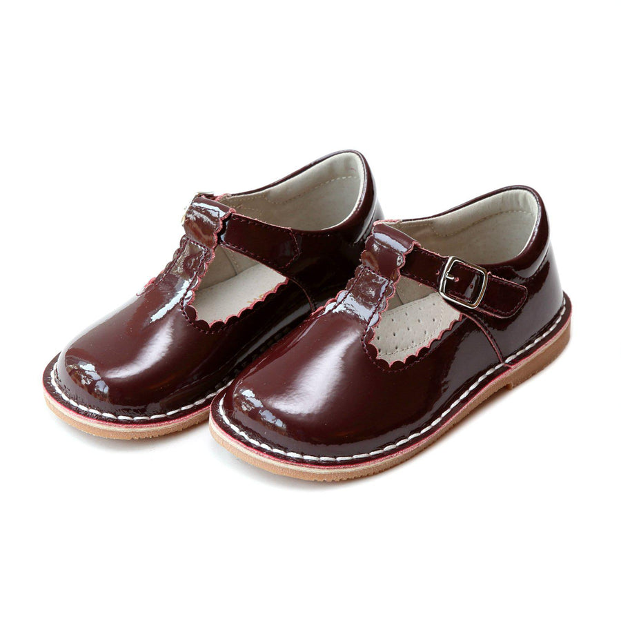 Pink Chicken L'Amour Shoes Selina Scalloped Mary Jane - Patent Burgundy toddler 5