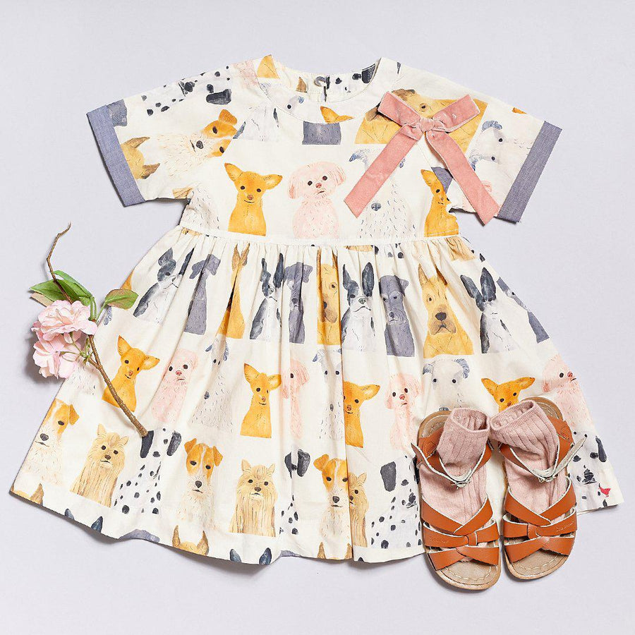 Pink Chicken Olive Dress 2Y multi watercolor dogs