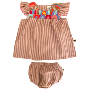 Pink Chicken Marabelle 2-Piece Set - Folklore 3/6m pink stripe w/embroidery - 20sspcb836a