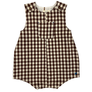 Pink Chicken Noah Onesie 3/6m brown gingham