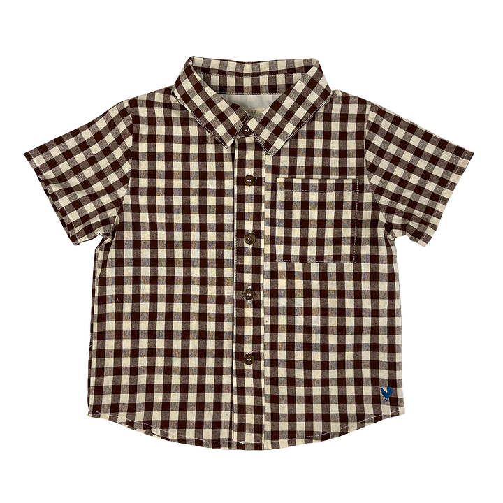 Pink Chicken Jack Shirt 2y brown gingham