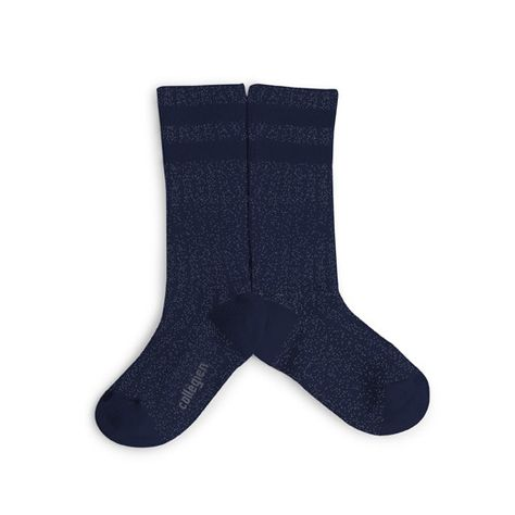 Pink Chicken Shiny Socks with Stripe - Navy 18/20