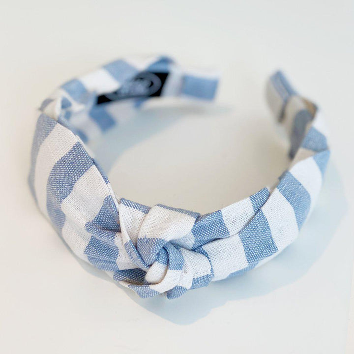 Pink Chicken Side Bow Headband - Linen Wide Stripe Chambray