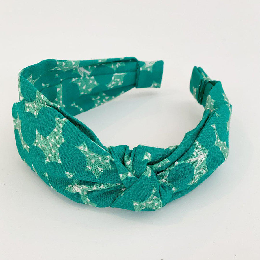 Pink Chicken Side Bow Headband - Green Echino Dot