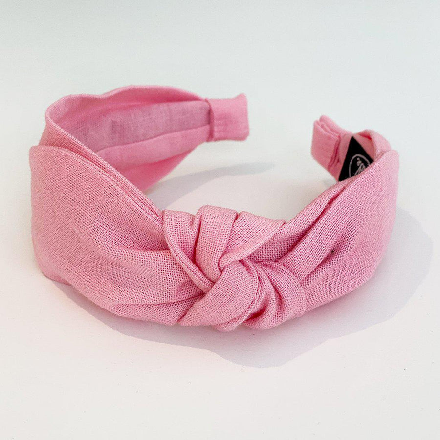 Pink Chicken Side Bow Headband - Medium Pink Linen