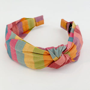 Pink Chicken Side Bow Headband - Spring Stripe