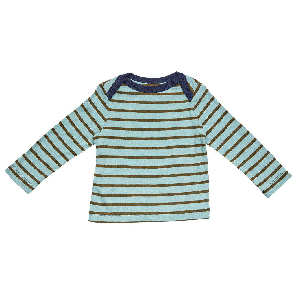 Pink Chicken Henry Stripe T 3/6m dark olive/blue surf stripe - 17fbrn207c