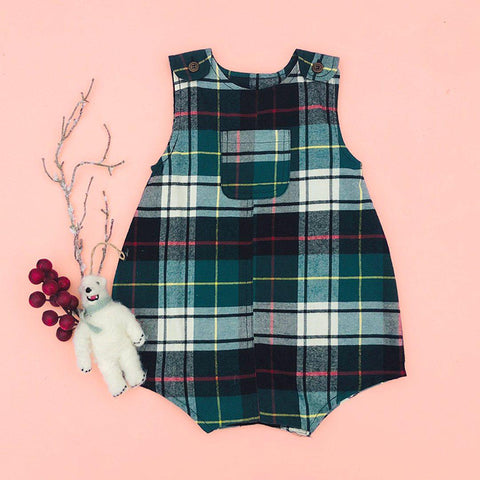 Pink Chicken Noah Onesie 3/6m hunter green tartan - 19hbrb221a