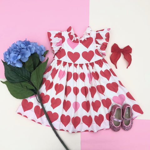Pink Chicken Jennifer Dress 2y valentine hearts - 20espc374a