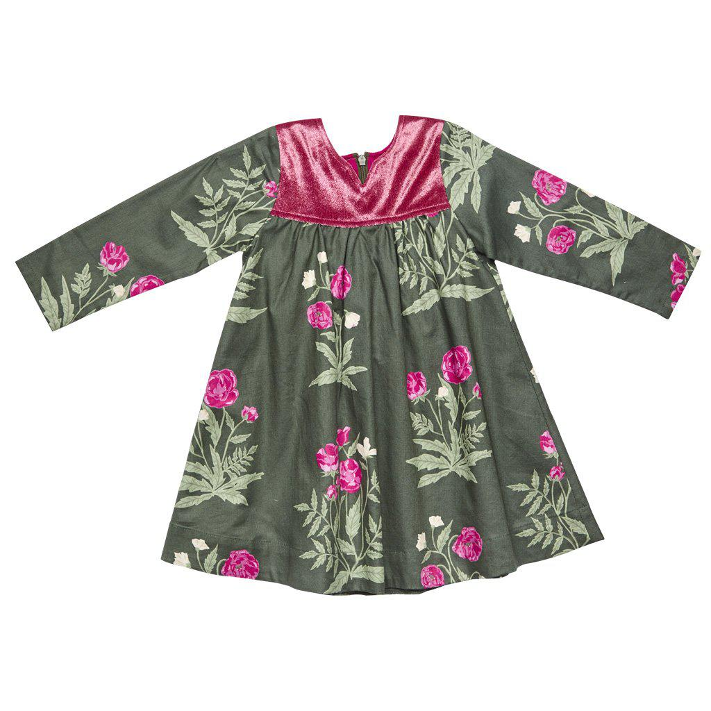 Pink Chicken Ivy Dress 2y botanical flrl w/mauve velvet - 17ffpc218a