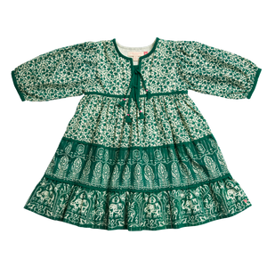 Pink Chicken Jade Dress 2Y green mixed floral/block print